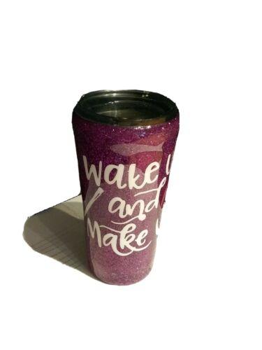 Wake up /& Make Up Younique Glitter Tumbler Purple Very Rare