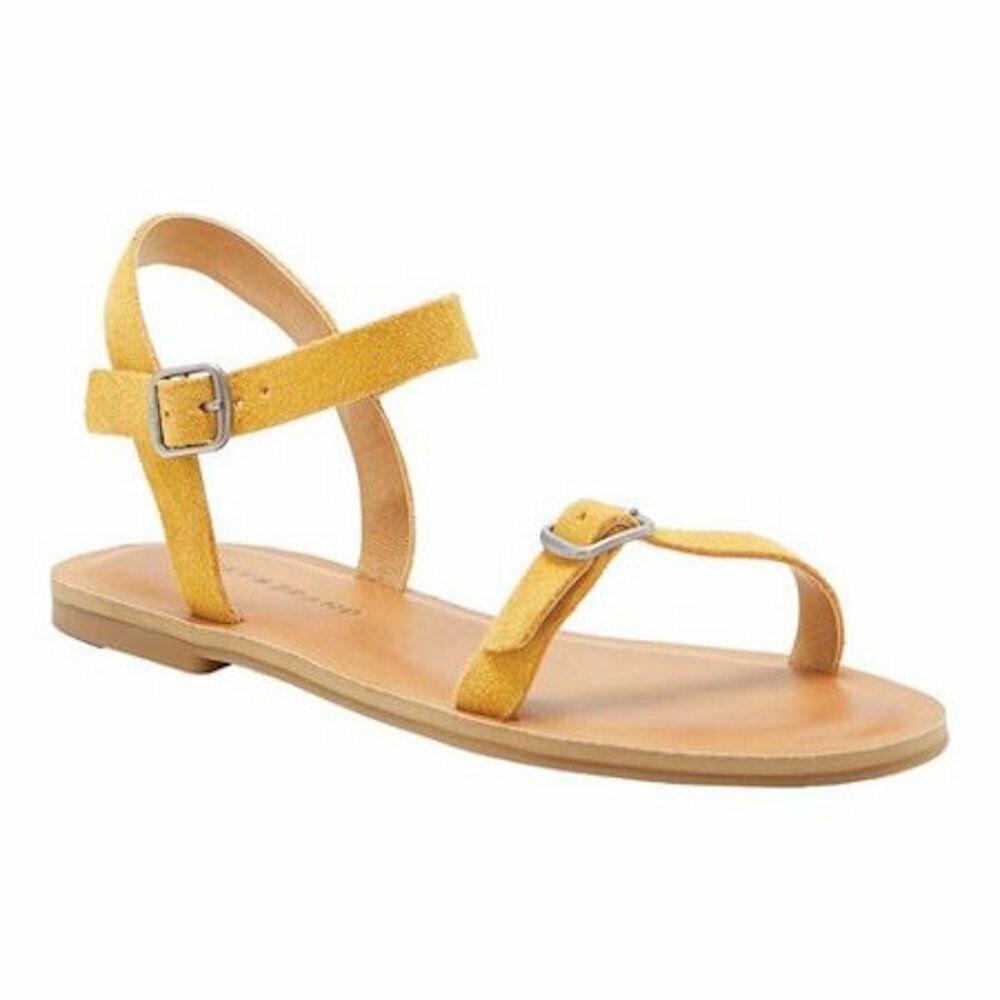 Lucky Brand Women's ADYMARIS Flat Sandal-SAFFRON OILED SUEDE