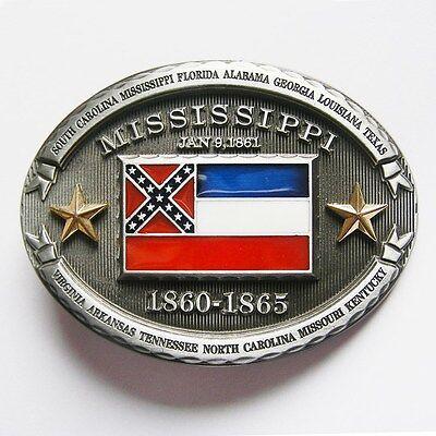 NEW HOSPITALITY MAGNOLIA STATE FLAG OF MISSISSIPPI BELT BUCKLE