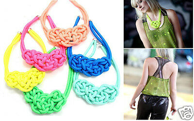 Chic Pure Handmade Chunky Cotton Rope Knit Bib Necklace Fluorescent Neon Color