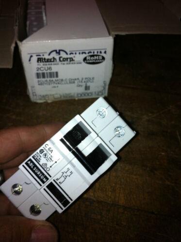 ALTECH 2CU6 C6A 2CU6M 2 POLE 6 AMP DIN RAIL CIRCUIT BREAKER 480V MAX