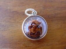Vintage silver ENGLISH BULL DOG BOXER REVERSE CARVED INTAGLIO ESSEX GLASS charm