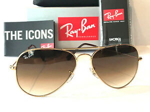 b18e48bef0d3c ray-ban aviator rayban gradient brown lens gold frame rb 3025 size 58 ...