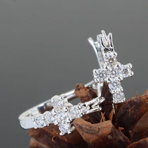 Women-Silver-Plated-Charming-Shiny-Clear-Crystal-U-Style-Cross-Hoop-Stud-Earring