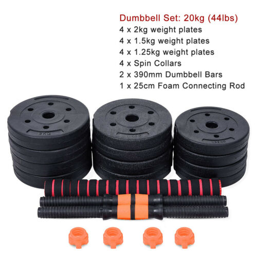 88LB Adjustable Dumbbell Set Weight Barbell Plates GYM Home Training Workout