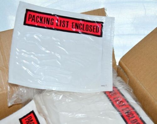 """1000 pcs 4 1//2/"""" x 5 1//2/"""" Clear Pouches w// Packing List Enclosed on front of each"""