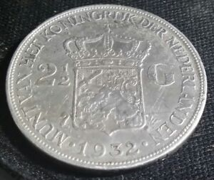 1932-NETHERLANDS-SILVER-2-1-2-GULDEN-BETTER-GRADE-CROWN-COIN