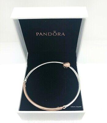 NEW Authentic PANDORA Rose 14K Gold Three Link Charm Bangle Bracelet 588143  | eBay