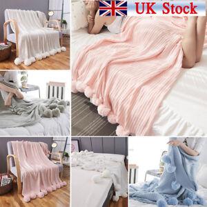 Bedding Reversible Pom Pom Knitted Throw Crochet Blanket Bed Sofa Cotton Rug Home Decor
