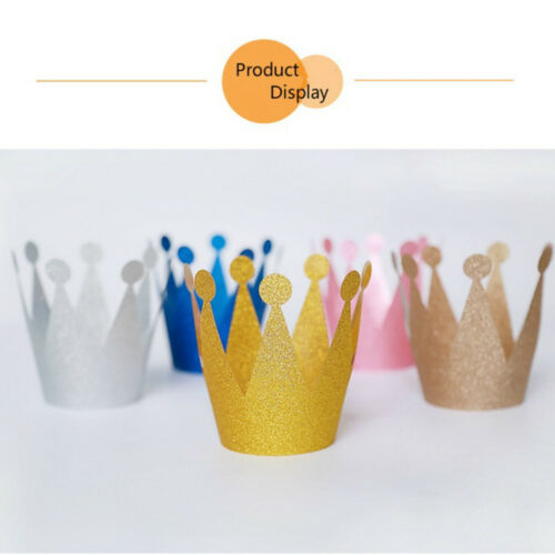 6pcs Shimmer Kids Adult Birthday Party Hat Crown PVC Tiara Prince Princess  #IN9