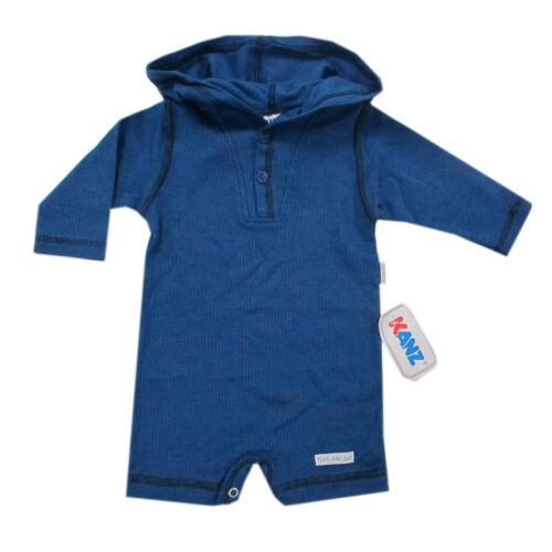 68 Kanz Unterwäsche Body mit Kapuze Langarm Baumwolle Blau Overall Jungen Gr