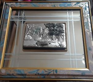 Antique-Mirror-relief-artwork-10-1-2-034-x-12-034-Framed-signed-by-Matil-dated-1957
