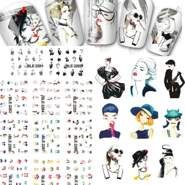 11 Designs Water Transfer Stickers Women Sexy Figure Image Decals Nail Art Tip