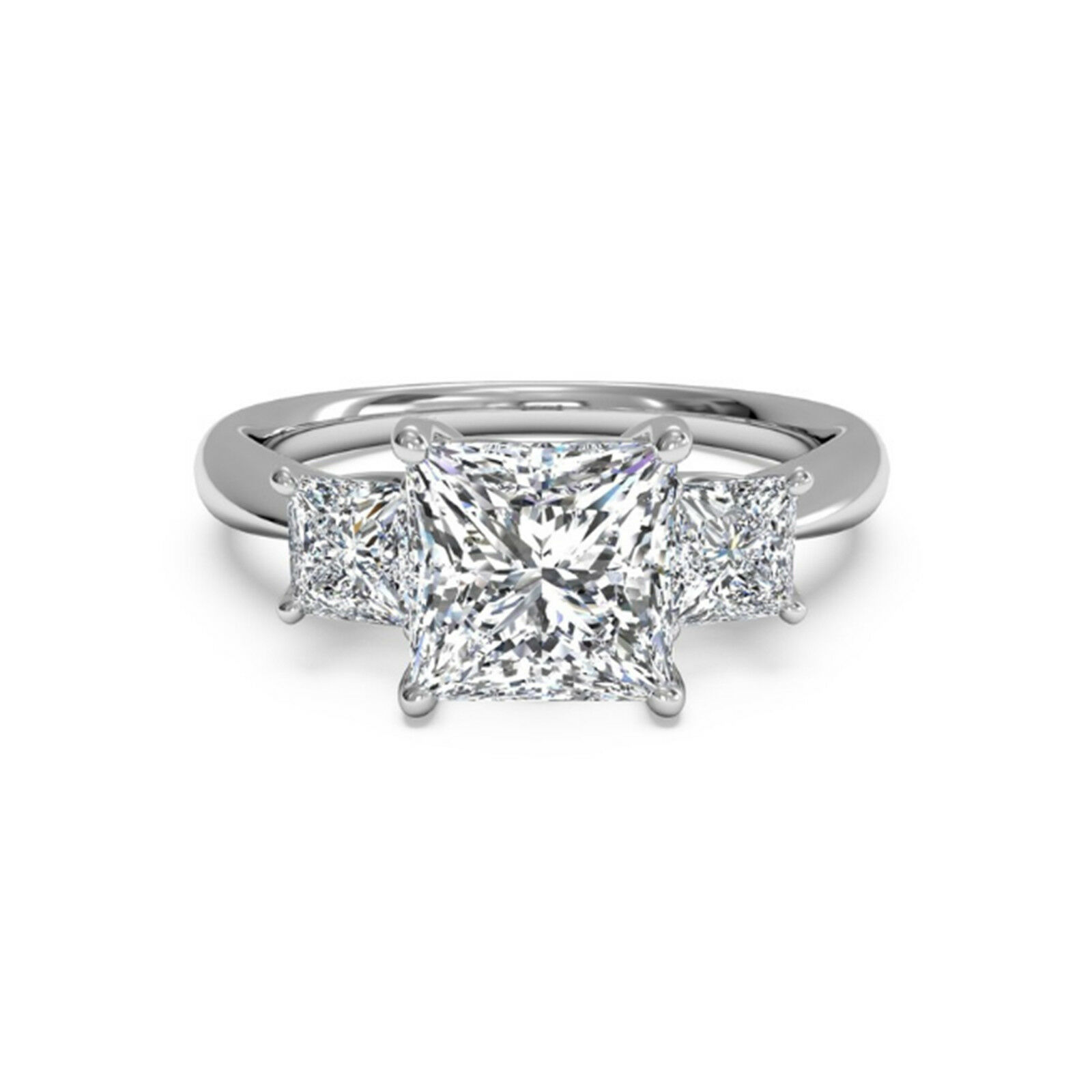 Certified 1.40Ct Moissanite Wedding Rings Solid 14k White gold Engagement Ring