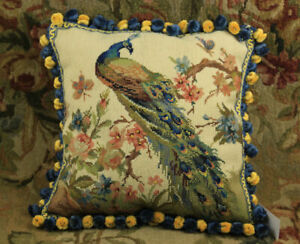 16-034-Facing-Left-Peacock-On-Flower-Tree-Hand-crafted-Needlepoint-Pillow-Cushion