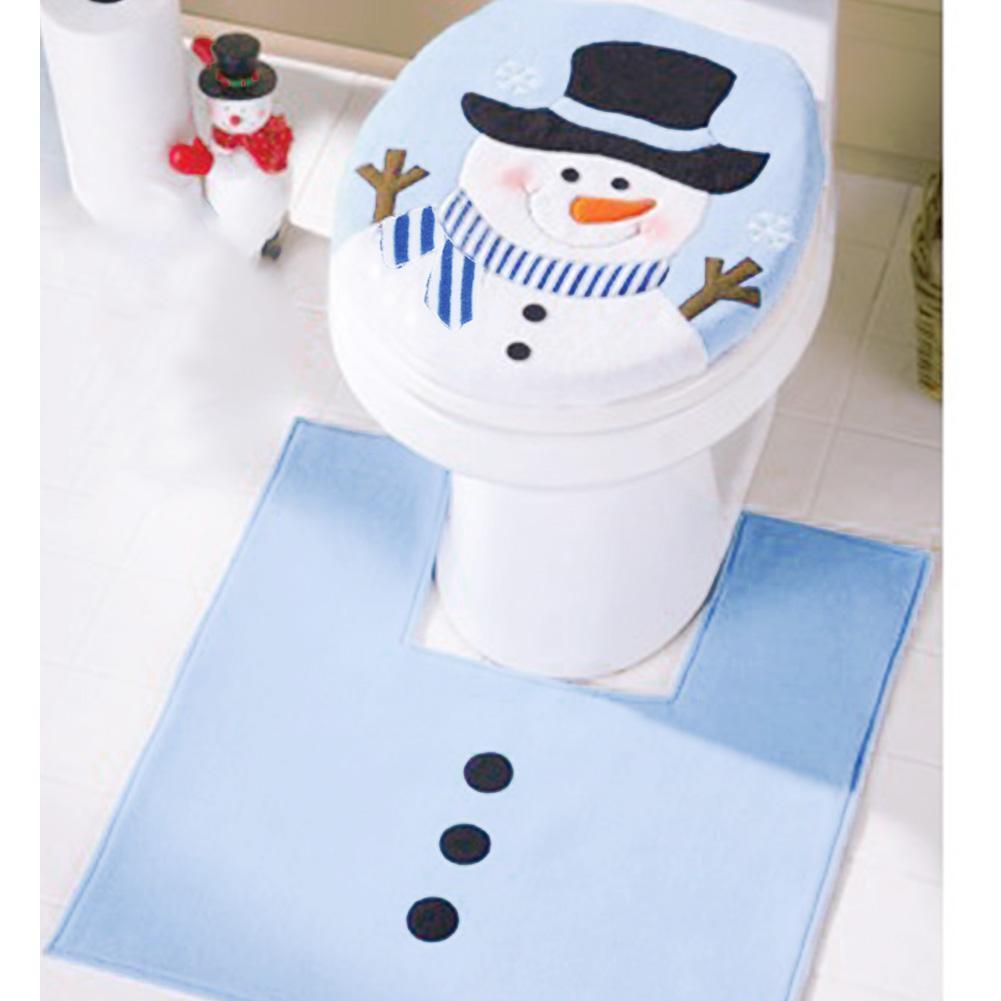 Bonhomme de Neige Style Salle de Bain Tapis Set Contour Tapis Toilette Couvercle