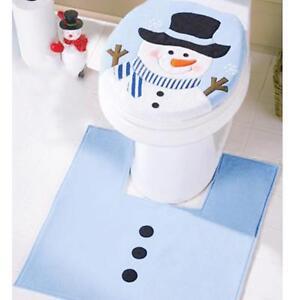 Image Is Loading Snowman Style Bathroom Rug Set Contour Mat Toilet