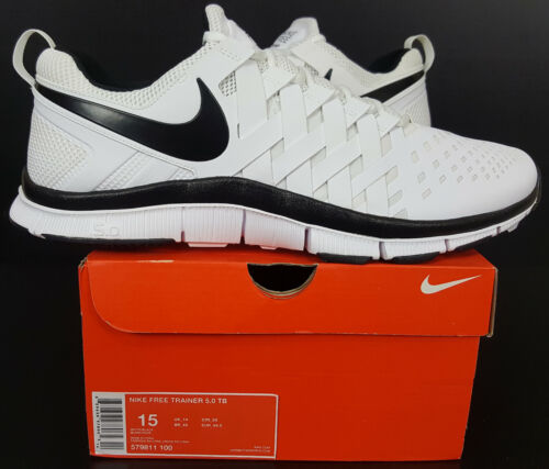 NIKE FREE TRAINER 5.0 RUNNING SHOES WHITE BLACK RARE NEW 579811-010 SIZE 15