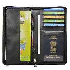 Hide & Sleek Men's Black Travel Artificial Leather Passport Holder