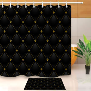 Details About Black Leather With Gold Fabric Shower Curtain Set Bathroom  Accessories Liner New