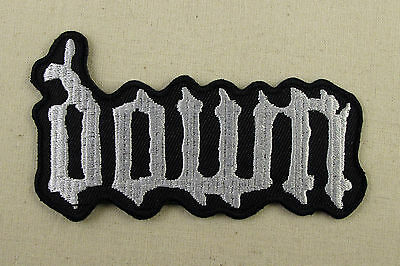 DOWN White    Iron On Sew On Embroidered Patch  heavy metal