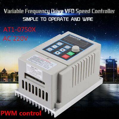 220V 0.75kW Single Phase 3PH Variable Frequency Drive VFD Speed Controller USA