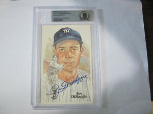 1980-Joe-Dimaggio-Autograph-Perez-Steele-Post-Card-Beckett-Slabed-Yankees