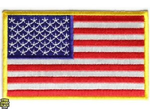 American Flag Yellow Border Iron On Patch 4 x 2.5 inch Free Shipping P3821