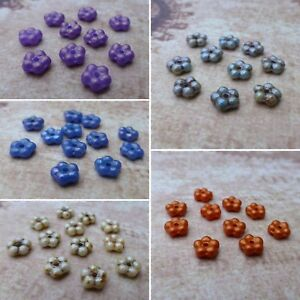 30 Forget-me-not Antique Silver Czech glass beads