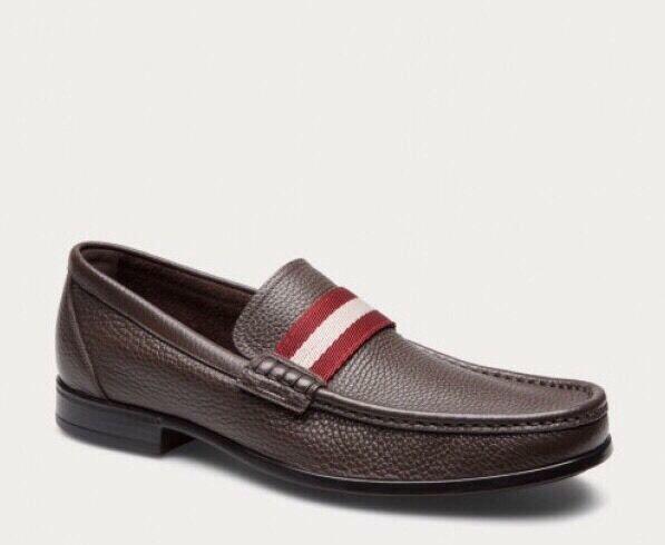 New In Box Bally 'Tesly' Brown Pebbled Leather Striped Loafers Size 11 *2017* Scarpe classiche da uomo