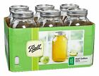 6 Ball Mason Wide Mouth Canning Jars HALF GALLON~64oz w/Lids & Bands NEW 68100