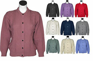 Womens-Ladies-Crew-Neck-Cable-Knit-Button-Up-Chunky-Cable-Cardigan-UK-Size-8-14