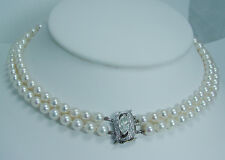 Vintage 14K White Gold 1.25ct Diamond Clasp Pearl Choker Necklace Jewelry