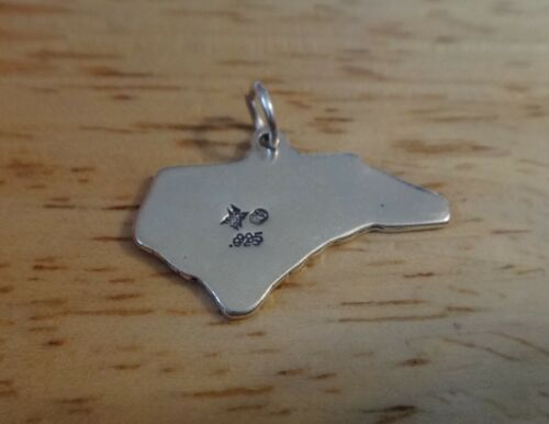 North Carolina State Charm Sterling Silver 25x17mm Tar Talon St