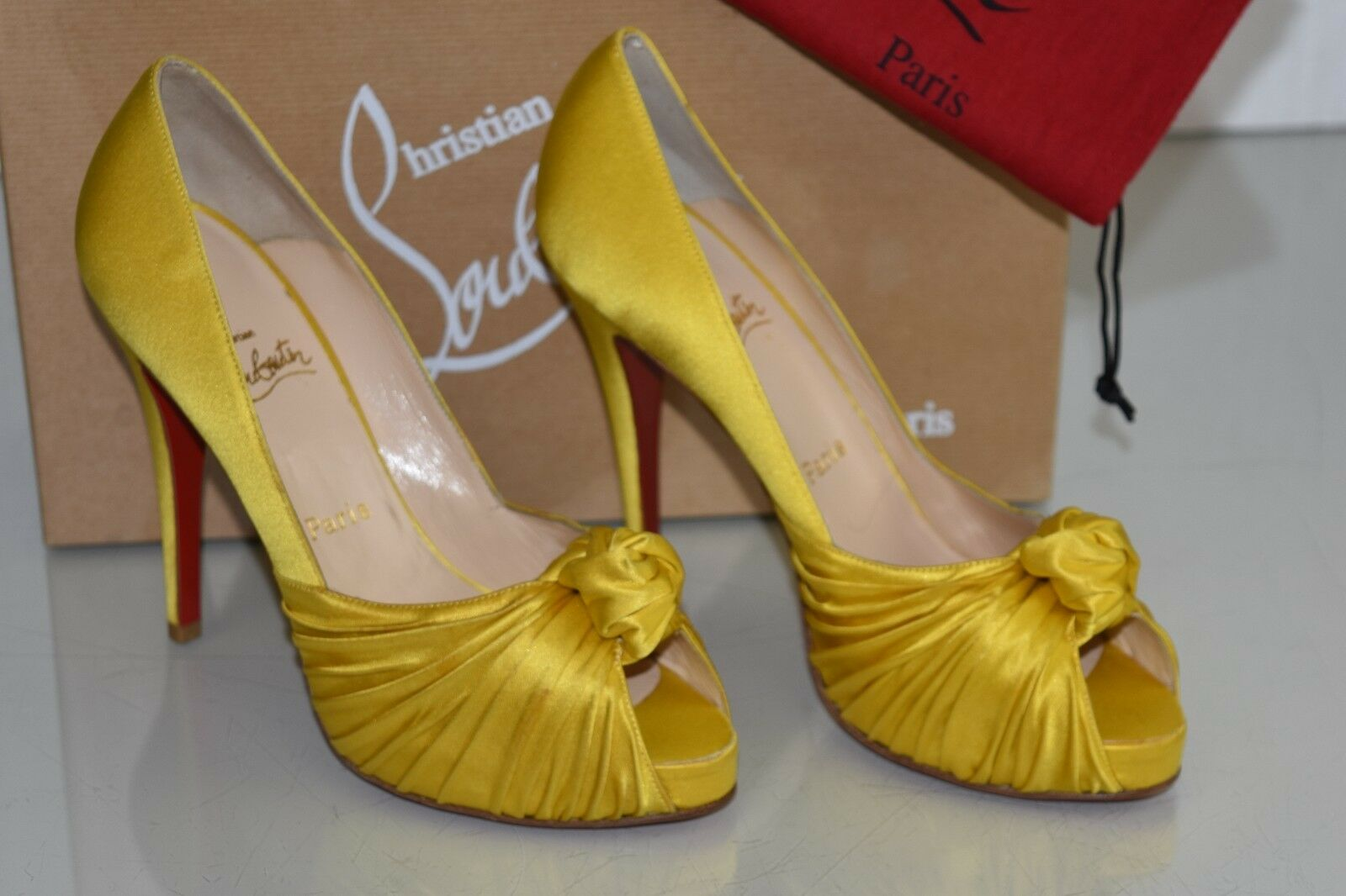 865 New CHRISTIAN LOUBOUTIN Lady Gres Satin Yellow Platform Heels SHOES 39