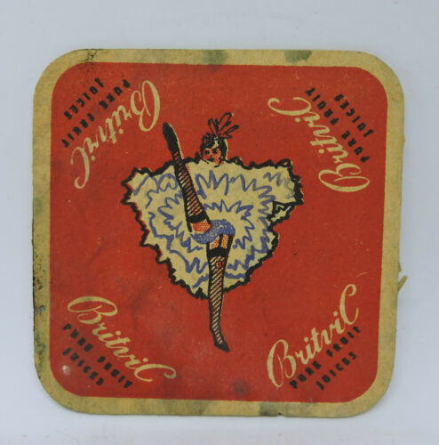 1960s BRITVIC WINE PURE FRUIT JUICES LADY DANCING COASTER