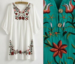 Vintage Mexican EMBROIDERY BOHO Blouse Mini Dress Plus Size Womens ...