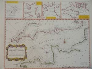 OLD COPY OF MAP MARINE CHART OF THE ENGLISH CHANNEL 1700'S