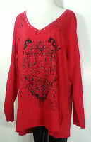 Seven 7 Luxe Red Top 26-28 3x Plus Size V Neck With Rhinestones