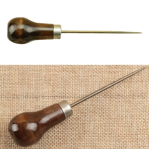 Professional Leather Wood Handle Awl Tools For Leathercraft Stitching Sewing ZB