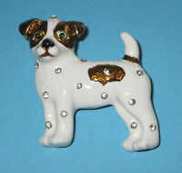 Jack Russell Terrier Pin Brooch Crystal Accents Dog White Brown Puppy