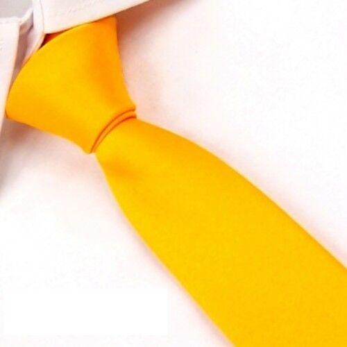 Yellow Solid 100% Silk Men's Skinny Wedding Groom Neck Tie Plain Necktie SK08