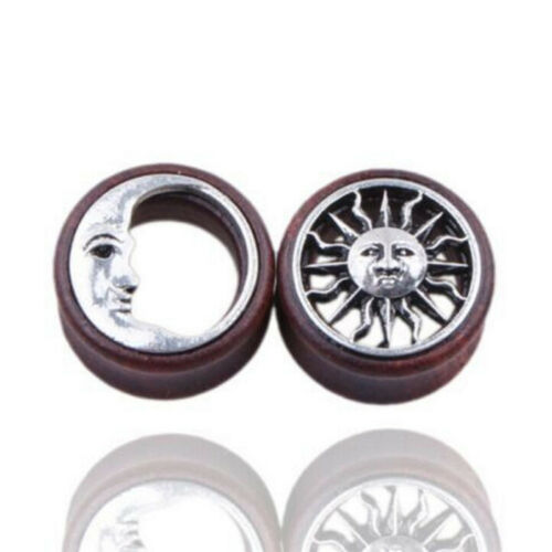 1Pair Sun/&Moon Ear Saddle Tunnels Flesh Earrings Gauges Piercing Expander Plugs!