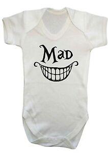 "BABY boy girl ""MAD"" CHESHIRE CAT Alice in wonderland VEST,BABYGROW,<wbr/>BODYSUIT"