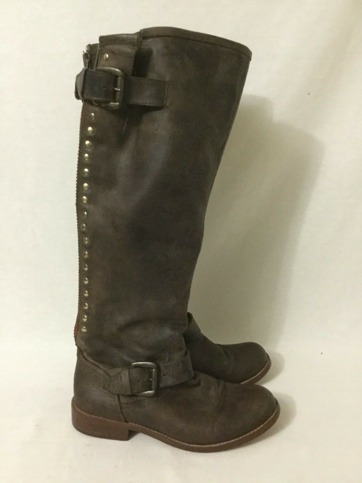 Steve Madden Lynxx Brown Red Leather Riding Boots Size 6