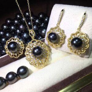 3b48463014fdf Details about NATURAL SOUTH SEA TAHITI BLACK PEARL Pendant Earrings SET  AAAAA