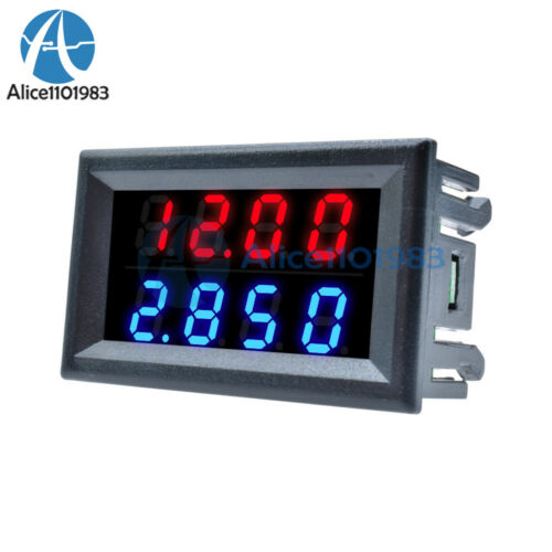 4-Bit DC 0-200V 10A Voltmeter Ammeter Blue+Red LED Amp Dual Volt Meter Gauge