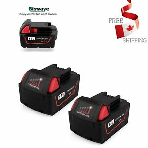 2-Pack-18V-5-0Ah-Replacement-M18-Battery-for-Milwaukee-18-Volt