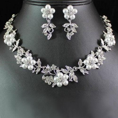 Hot Delicate Womens Pearl Austrian Crystal Necklace Earrings Wedding Jewelry Set