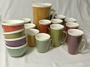 Raffiaware-Lot-of-17-Mugs-Cups-Bowls-Pitcher-Burlap-Woven-Insulated-Mid-Century